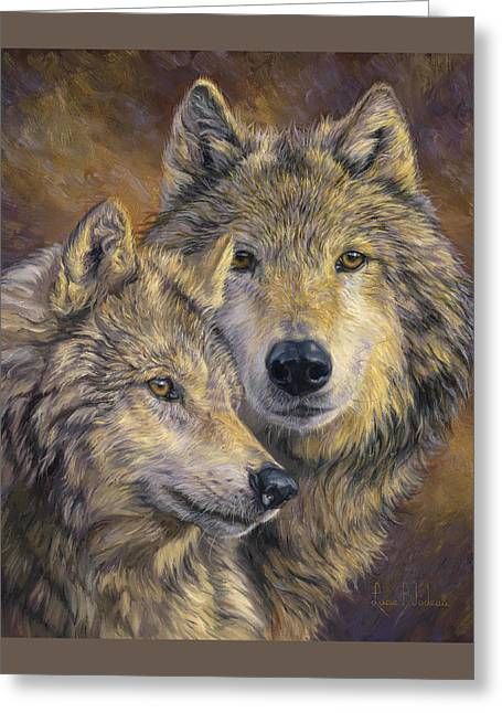 Wolves Greeting Cards - The Bond Greeting Card by Lucie Bilodeau