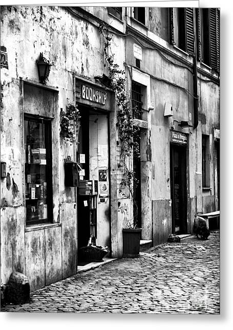 Trastevere Greeting Cards - The Bookshop Greeting Card by John Rizzuto