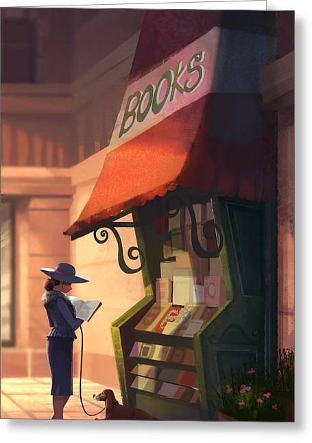 Dogs Digital Greeting Cards - The Bookstore Greeting Card by Kristina Vardazaryan