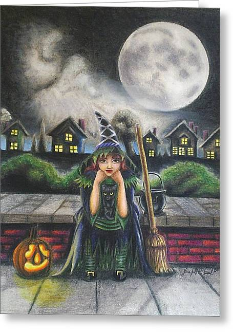 Candle Lit Drawings Greeting Cards - The Bored Little Witch Greeting Card by Scarlett Royal