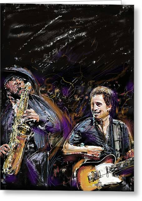 E Street Band Greeting Cards - The Boss and the Big Man Greeting Card by Russell Pierce