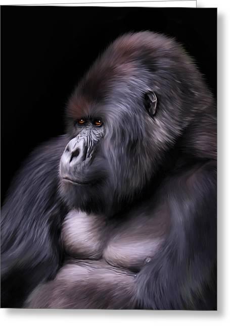 Gorilla Digital Greeting Cards - The Boss Greeting Card by Julie L Hoddinott