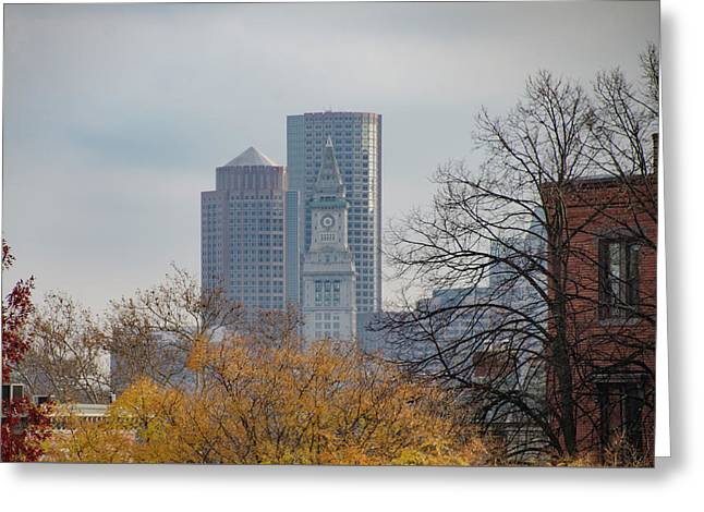 The Boston Custom House Tower From Bunker Hill Greeting Card by Bill Cannon