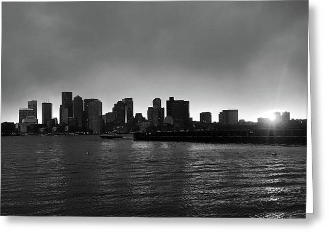 The Boston Skyline At Sunset From East Boston Black And White Greeting Card by Toby McGuire