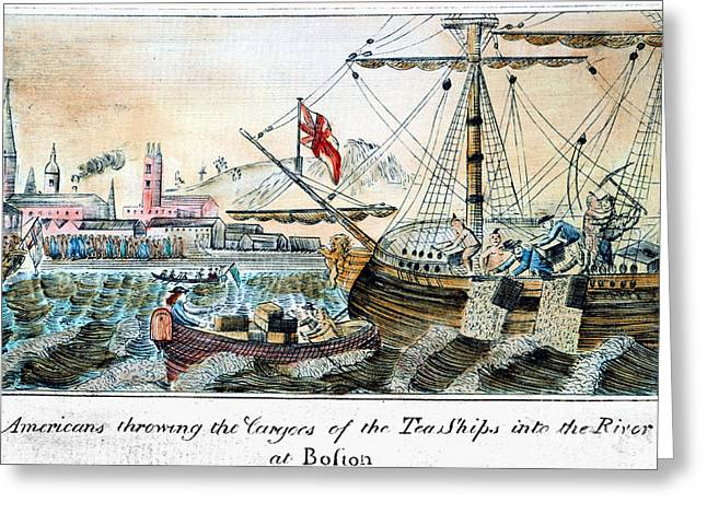 Protesters Greeting Cards - The Boston Tea Party, 1773 Greeting Card by Granger
