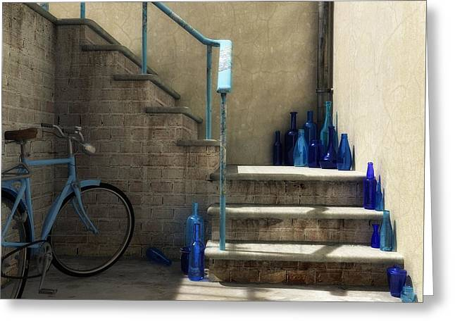 The Bottle Collector Greeting Card by Cynthia Decker