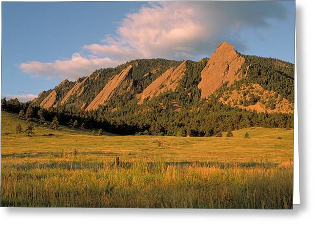 Cu Boulder Art Greeting Cards - The Boulder Flatirons Greeting Card by Jerry McElroy