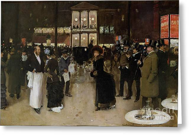 Paris At Night Greeting Cards - The Boulevard at Night Greeting Card by Jean Beraud