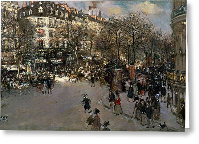 1924 Greeting Cards - The Boulevard des Italiens Greeting Card by Jean Francois Raffaelli