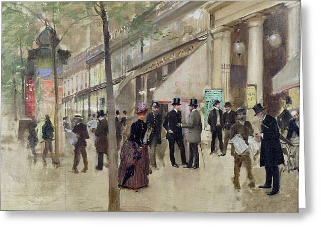 Period Paintings Greeting Cards - The Boulevard Montmartre and the Theatre des Varietes Greeting Card by Jean Beraud