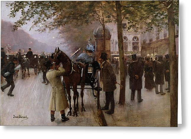 Cafe City Lights Greeting Cards - The Boulevards Greeting Card by Jean Beraud