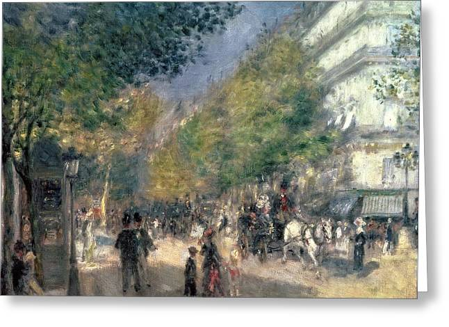 Pulling Greeting Cards - The Boulevards  Greeting Card by Pierre Auguste Renoir