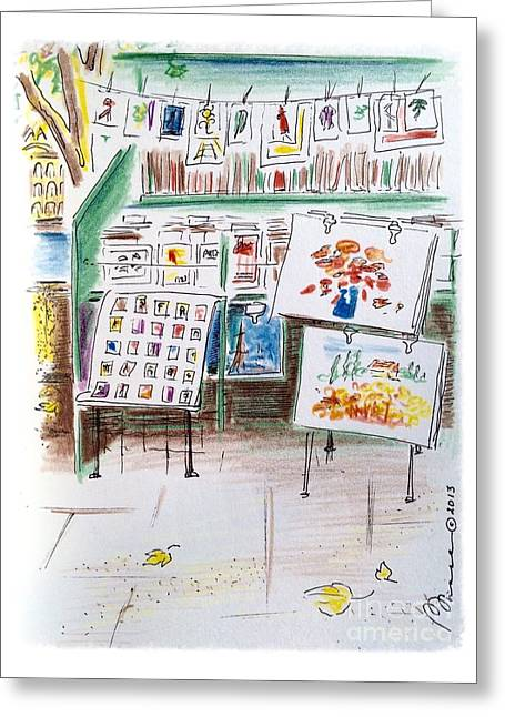 The Bouquinistes Of Paris Greeting Card by Barbara Chase