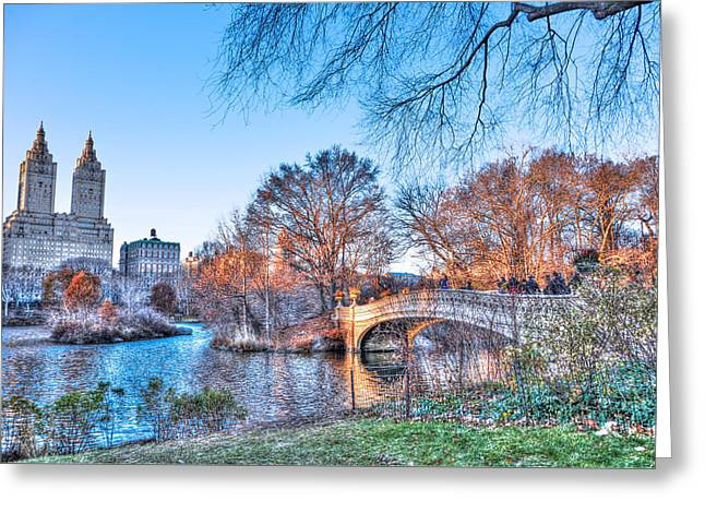 Famous Bridge Greeting Cards - The Bow Bridge in Central Park Greeting Card by Randy Aveille