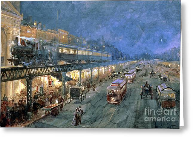 Elevated Greeting Cards - The Bowery at Night Greeting Card by William Sonntag