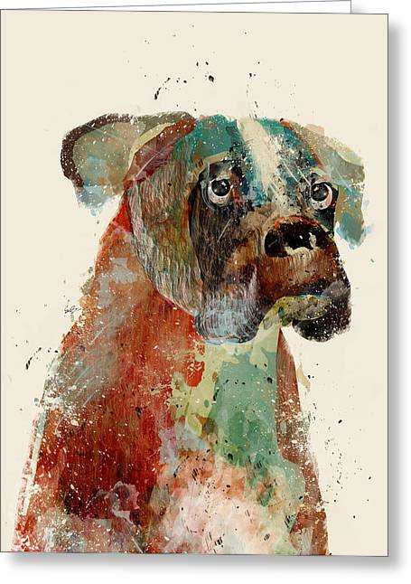 Boxer Digital Art Greeting Cards - The Boxer Greeting Card by Bri Buckley