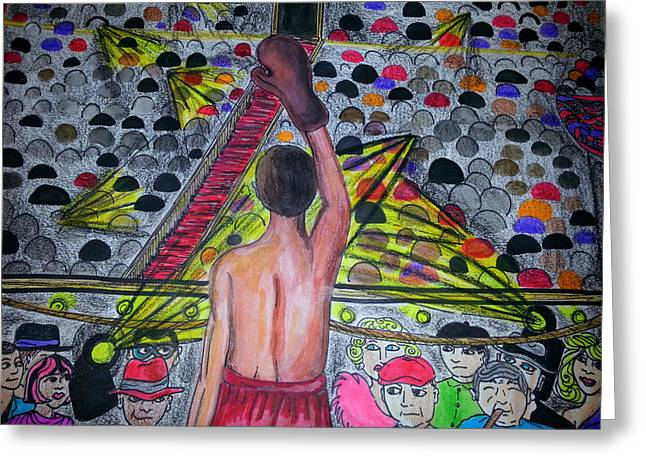 Las Vegas Drawings Greeting Cards - The Boxer Greeting Card by Gina Alequin