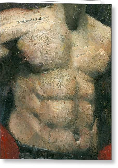 Male Torso Greeting Cards - The Boxer Greeting Card by Steve Mitchell