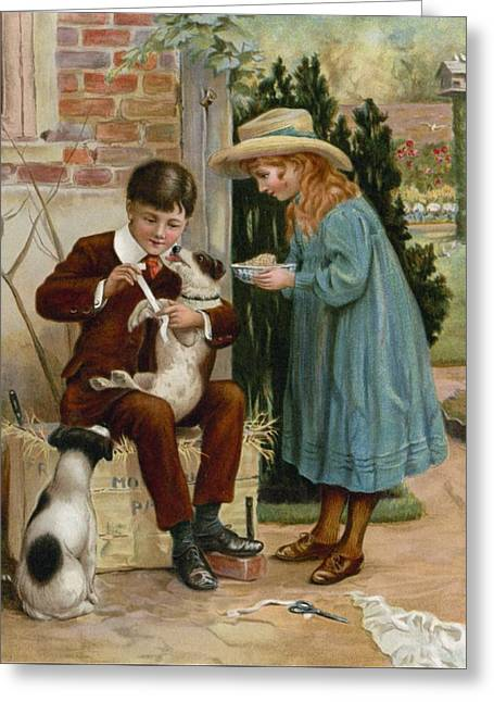 Tending Greeting Cards - The Boy Doctor Greeting Card by English School