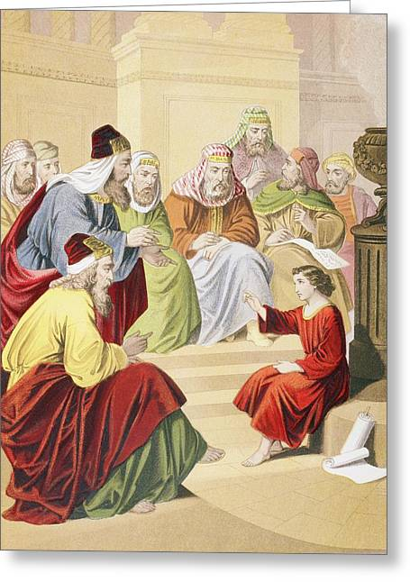 Testament Greeting Cards - The Boy Jesus Debating With Priests And Greeting Card by Ken Welsh
