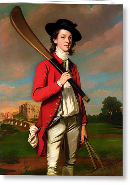 Cricket Paintings Greeting Cards - The Boy With A Bat - Walter Hawkesworth Fawkes Greeting Card by English School