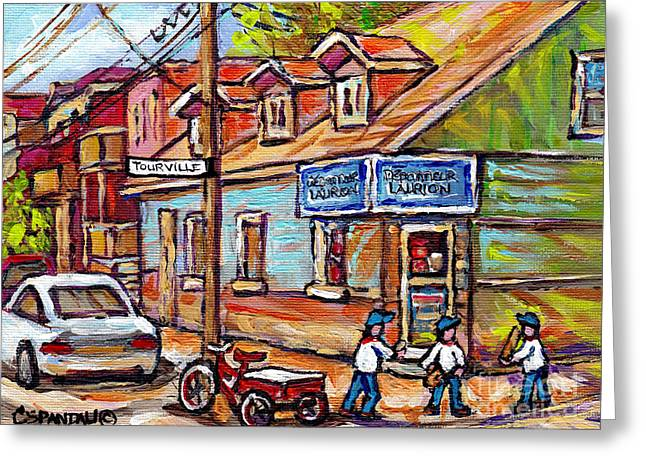 Store Fronts Greeting Cards - The Boys Of Summer Montreal Expo Baseball Paintings St Henri Depanneur Best Canadian Original Art  Greeting Card by Carole Spandau