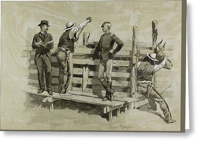 The Branding Chute Greeting Card by Frederic Remington