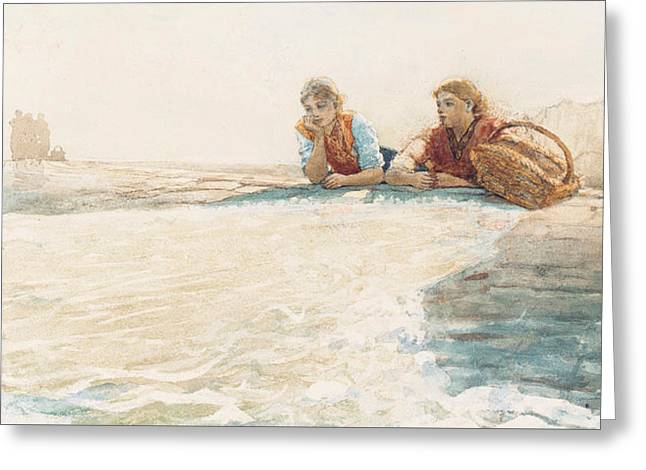 Posters Of Women Drawings Greeting Cards - The Breakwater Greeting Card by Winslow Homer
