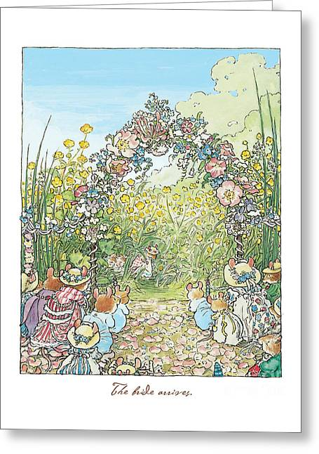 Coloured Greeting Cards - The Bride Arrives Greeting Card by Brambly Hedge
