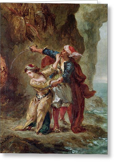 Jealousy Greeting Cards - The Bride of Abydos Greeting Card by Ferdinand Victor Eugene Delacroix