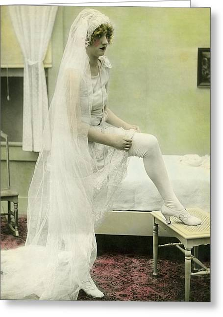 Distraught Greeting Cards - The Bride Retires Greeting Card by Underwood Archives