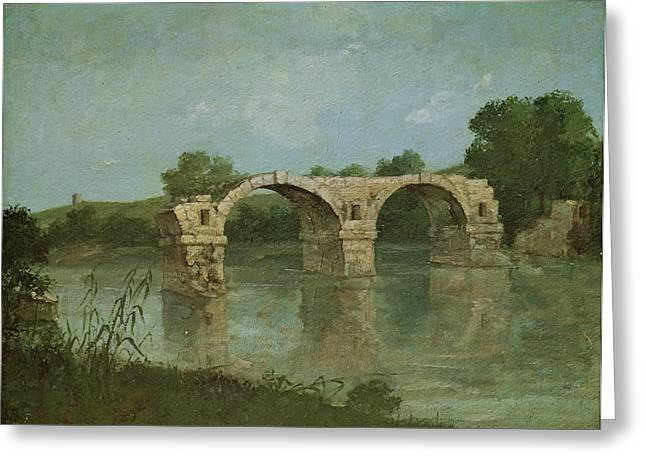 The Bridge At Ambrussum Greeting Card by Gustave Courbet