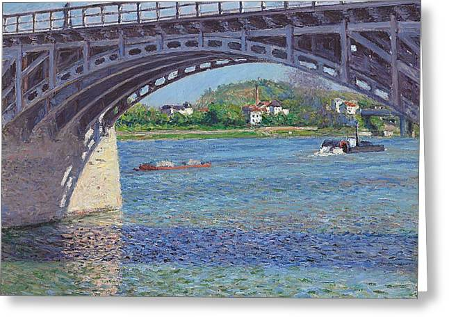 People Walking Greeting Cards - The Bridge at Argenteuil and the Seine Greeting Card by Gustave Caillebotte