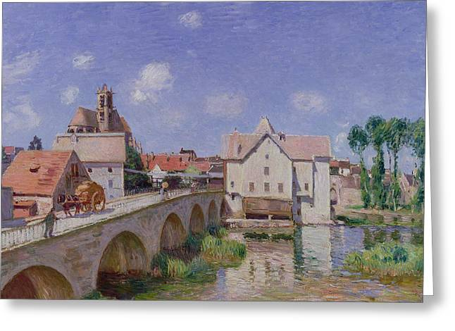 1893 Greeting Cards - The Bridge at Moret Greeting Card by Alfred Sisley
