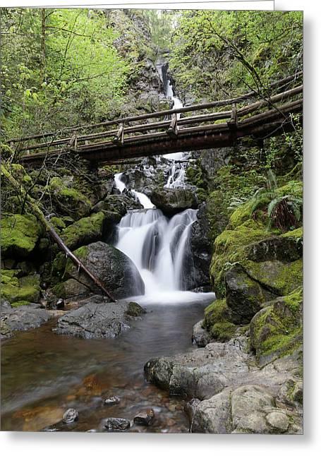 The Bridge Crossing Rodney Falls Greeting Card by Jeff Swan