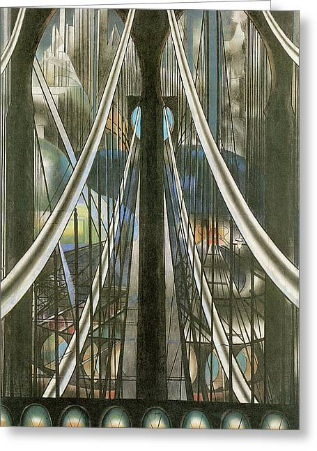 The Bridge New York Greeting Card by Joseph Stella