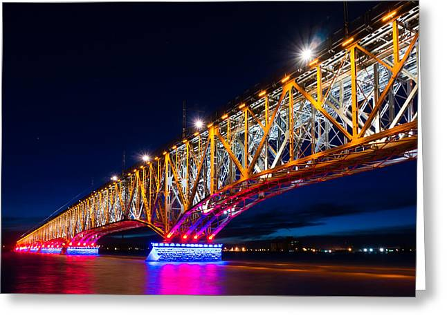Night Lamp Greeting Cards - The bridge of light Greeting Card by Dmytro Korol