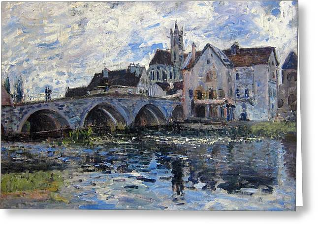 The Bridge Of Moret Greeting Card by Alfred Sisley