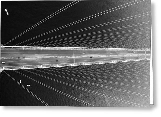 White Pyrography Greeting Cards - The Bridge Greeting Card by Peteris Vaivars