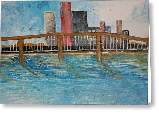 Highway Pastels Greeting Cards - The Bridge Greeting Card by Roy Penny