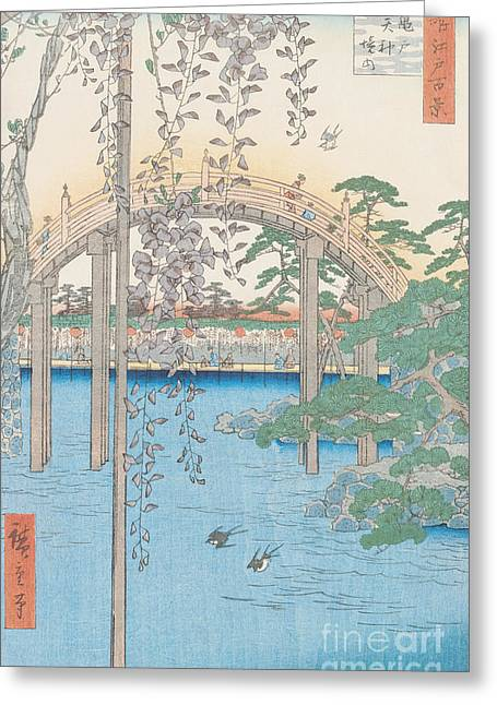 Wisteria Leaves Greeting Cards - The Bridge with Wisteria Greeting Card by Hiroshige