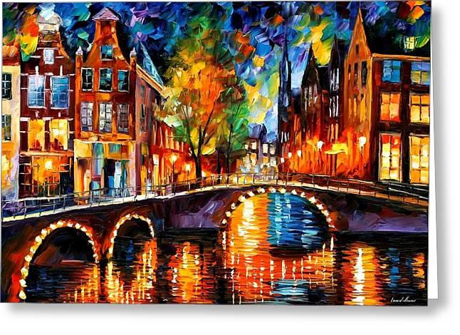 Bridge Paintings Greeting Cards - The Bridges Of Amsterdam Greeting Card by Leonid Afremov