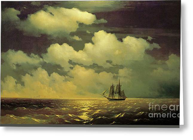 The Brig Mercury After Defeating Two Turkish Ships Of The Russian Squadron Greeting Card by Ivan Aivazovsky