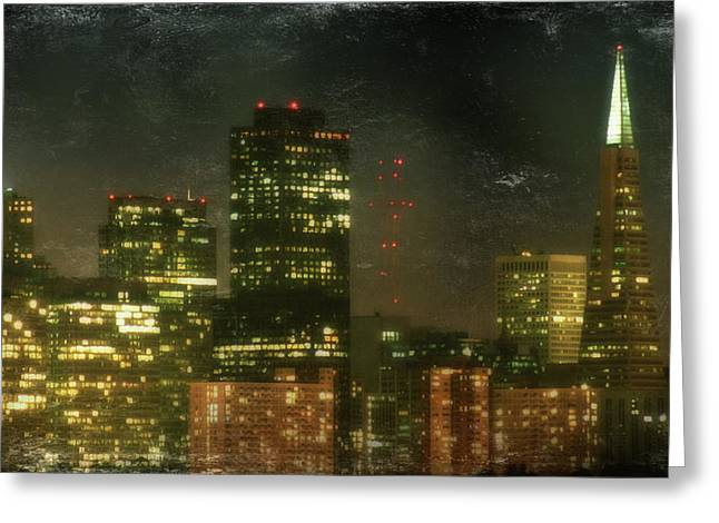 City Buildings Digital Greeting Cards - The Bright City Lights Greeting Card by Laurie Search
