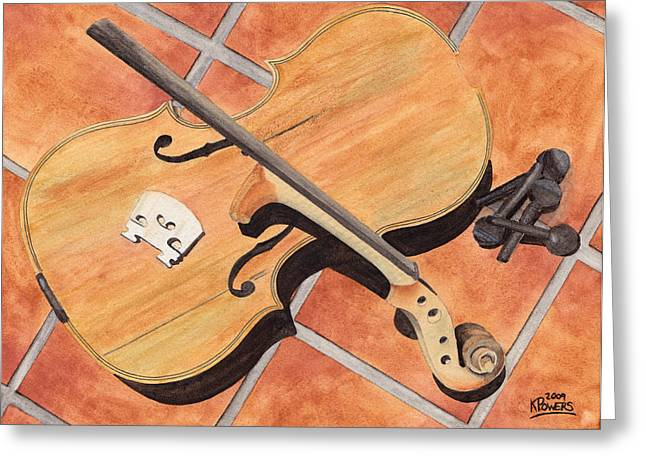 Violin Greeting Cards - The Broken Violin Greeting Card by Ken Powers