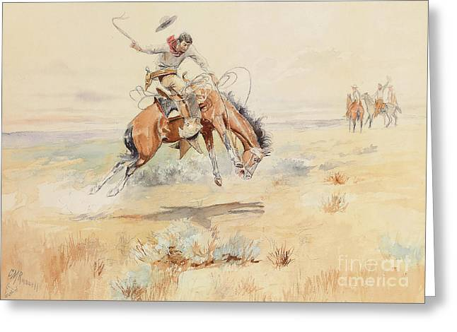 The Bronco Buster Greeting Card by Charles Marion Russell