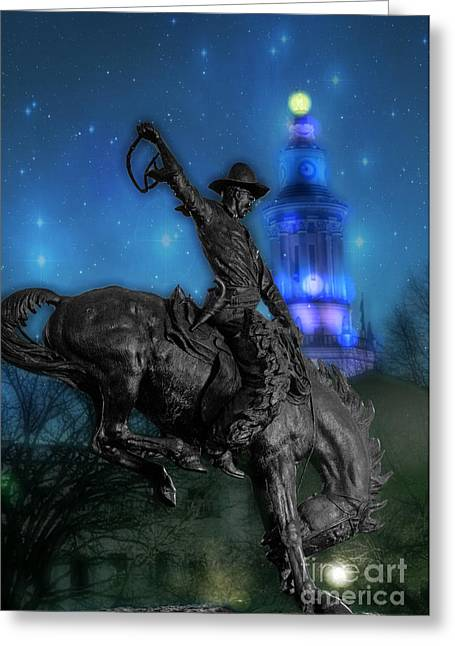 Broncos Greeting Cards - The Bronco Buster  Greeting Card by Juli Scalzi