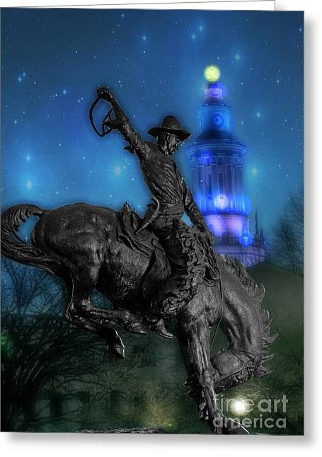 Colorado Landmarks Greeting Cards - The Bronco Buster  Greeting Card by Juli Scalzi