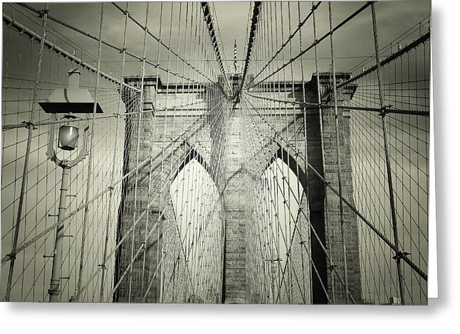 Bridge Greeting Cards - The Brooklyn Bridge Greeting Card by Vivienne Gucwa