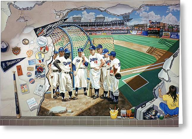 Baseball Paintings Greeting Cards - The Brooklyn Dodgers In Ebbets Field Greeting Card by Bonnie Siracusa